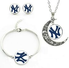New York Yankee Jewelry Set Necklace Pendant Earrings and Bracelet Gift for Her