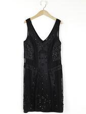 Belle By Oasis Womens Black Beaded Flapper Style Dress Size 12