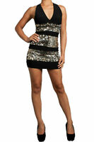 S M L Mini Dress Sparkling Sequin Silver Gold Metallic Cocktail X Back Striped