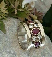 AAA QUALITY STERLING 925 SILVER HANDMADE JEWELRY AFRICA RED RUBY BAND RING
