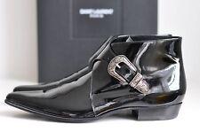 NIB Auth Saint Laurent Ankle Patent Buckle Duckies Booties Boots Shoe 44.5 11.5