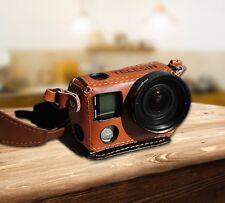 TELESIN Leather Camera Case Bag +37mm Filter UV Lens+ Lens Cap for  GoPro Hero 4
