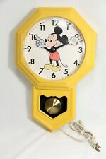 Vintage Mickey Mouse PENDULUM Wall CLOCK Welby ELGIN,  YELLOW, Disney, EXC +!