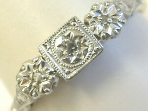 QUALITY 18CT GOLD ART DECO LOOK 1960S THREE STONE DIAMONDS RING-LARGE RING SIZE