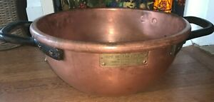 Antique COPPER Confectioners Candy Pot Kettle DOVETAIL HANDLES with MAKERS TAG