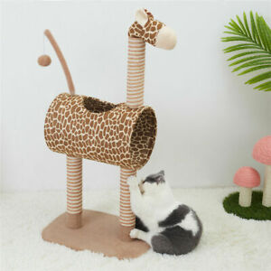 Giraffe Scratching Post Pet Cat Scratcher Poles Climbing Post Tunnel Condo Gym