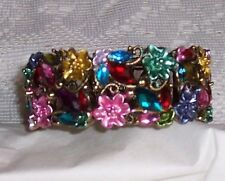 Multi Colored Floral Expandable Bangle Bracelet with Rhinestones #2