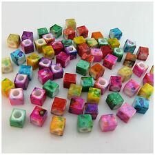 40pcs white blank cube acrylic beads 7mm jewel making