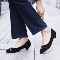 Womens Buckle Kitten Low Heels Peep Toe Pumps Suede Fashion Sandals Casual Shoes