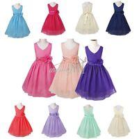 Flower Girl Chiffon Birthday Pageant Wedding Party Formal Princess Dress SZ 2-14