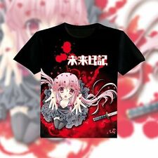 Anime Mirai Nikki Gasai Yuno Unisex T-shirt Short sleeve Tee Tops Black Clothing