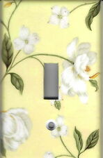 WHITE MAGNOLIA ON YELLOW HOME WALL DECOR SINGLE LIGHT SWITCH PLATE COVER