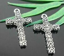 16Pcs Tibetan Silver Cross Charms Pendant 26.5x15mm (Lead-free)