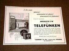 Pubblicità d'epoca collezionisti Primi  '900 Ricevitore Arcolette 3 w Telefunken