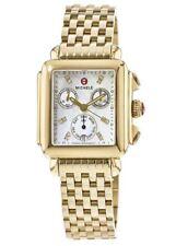 New Michele Deco Signature Diamond Dial Gold Tone Ladies Watch MWW06P000016