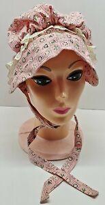 Vtg Handmade Little House on the Prairie Type Bonnet Hat Farm Country Side Pink