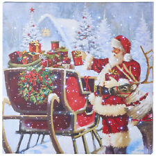 """Raz Imports Christmas Lighted Canvas Print - Santa with Sleigh Full of Gifts 20"""""""