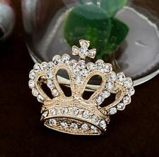 New Charm Gold Plated Crystal Crown Design Wedding Brooch Pin Xmas Jewelry Gifts