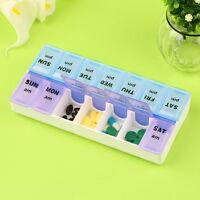 14 Slots 7 Day Tablet Pill Storage Box Medicine Organizer Pills Dispenser .