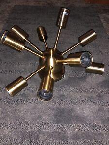 Creative Sputnik Chandelier Brushed Brass Semi Flush Mount Ceiling 9 Light Gold