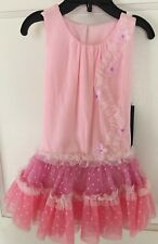 Isobella and Chloe Girls Tri Color Ruffled Drop Waist Dress Size 18M-New