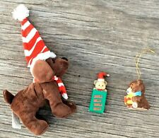 Lot of 3 Miscellaneous Christmas Ornaments/Decorations: Teddy Bears, Dog