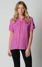 Millers Ladies Short Sleeve Lurex Check Shirt sizes 14 16 18 Colour Magenta