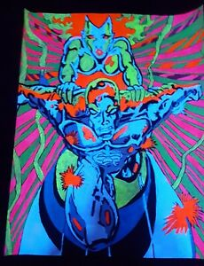 MARVEL SILVER SURFER hand drawn and colored black light poster!