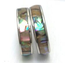 12Pcs Men Women Stainless Steel Abalone Shell Ring Couple Wedding Rings 6mm Wide