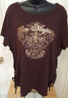 Fashion Bug Womens Brown Gold Her Majesty Shirt Top Blouse Size 22 24