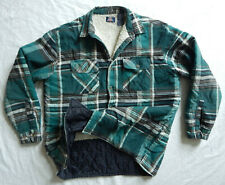 Green Black Brown Plaid Quilted Fleece Lined Flannel Work Shirt Jacket - XL Mens