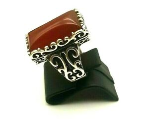 925 Sterling Silver Red Agate Handmade Turkish Men's Women's Ring Size 9