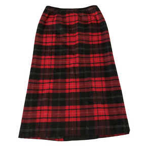 Talbots 100% Wool Lined Black Red Plaid Maxi Skirt Size 14 Modest Long