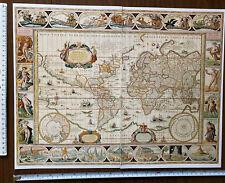 Antique vintage Historic Old Picture Map: World: Blaeu: 1600s REPRINT: vignettes