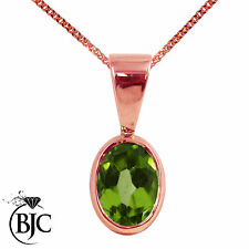 BJC® 9ct Rose Red Gold Natural Peridot Solitaire Drop Oval Pendant & Necklace