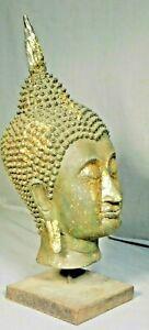 Vintage Thai Gold Leaf Bronze Buddha Head Ayutthaya Style Modern Sculpture BIG