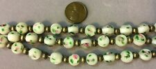 THIRTY (30) White with Pink Roses  Lampwork Glass Beads 9mm