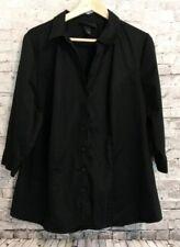 Lane Bryant Women's Black 3/4 Sleeve Button Down V-Neck Blouse Shirt Size 20