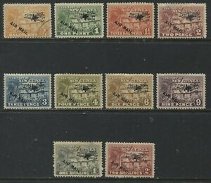 New Guinea 1939 Airmails various to 2/ mint o.g. hinged