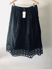 WOMEN'S SKIRT COUNTRY ROAD EMBROIDERED HEM COTTON BLACK SIZE 16 RRP