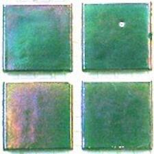 75 Vitreous Iridescent Mosaic Tiles 20mm - Jade Green