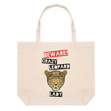 Beware Crazy Leopard Lady Large Beach Tote Bag - Funny Animal Shopper Shoulder