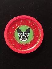 Boston Terrier Dog Resin Coaster/Paperweight/ornam ent Gift 4� Glasses Gold Stars