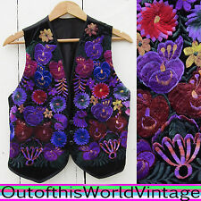 Vtg PURPLE FLORAL EMBROIDERED VEST ethnic hippie GYPSY BOHEMIAN free boho Sz M