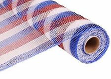 "RED WHITE BLUE Metallic Foil Floracraft Poly Deco Mesh Roll 21"" x 10yd craft art"
