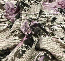 Brown & Purple Floral VELVET Fabric - Stretch Cotton Home Dec 1/4 yd remnant