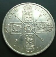 UK 1911 FLORIN HIGH GRADE GEORGE V BRITISH SILVER FLORIN ref SPINK 4012 Cc1