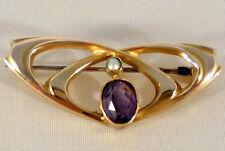 Splendido murrle Bennett Art Nouveau 9ct Oro Giallo Ametista & spilla di perle