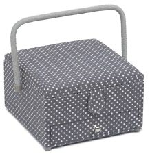 SEWING BASKET BOX Grey Spot with Drawer