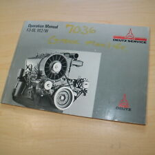 KHD DEUTZ F3-6L 912 W Diesel Engine Operation Owner Manual book Operator guide
